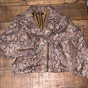 L&B snake print bomber jacket